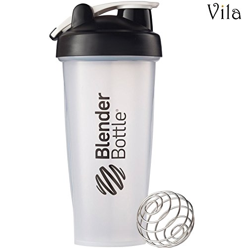 Vila Blender Bottle: Perfect for smoothies, protein blends and more: Stainless steel blender ball inside: Leak-proof, dishwasher safe and BPA-free: Embossed Ounce and Milliliter markings