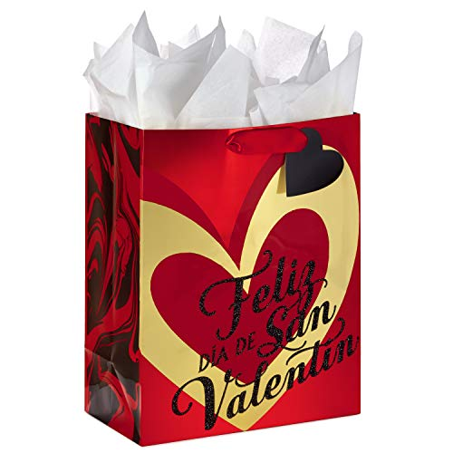 Hallmark VIDA Large Valentine's Day Gift Bag with Tissue Paper (Happy Valentine's Day Gold Heart)