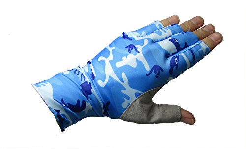 Shop Fishing And Hunting Fishing Half Finger Guide SPF Sun Gloves With Super Palm Grip (Blue Water, XL)