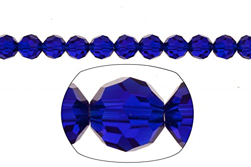 Crystal bead, 33-facet round cut, sapphire blue,8mm