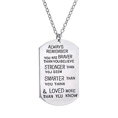 SAYLAVE Unisex Necklace Letters Pendant Inspirational Necklace Silver 2