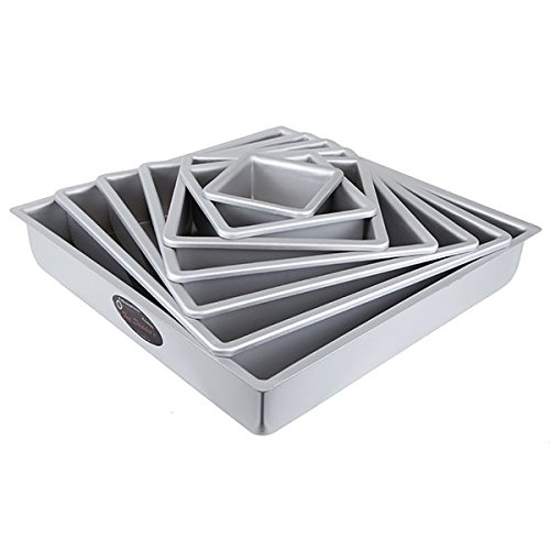 Cake Pan Set of 7, Square 2 Inches Even (4 to 16 Inches) by Fat Daddio's