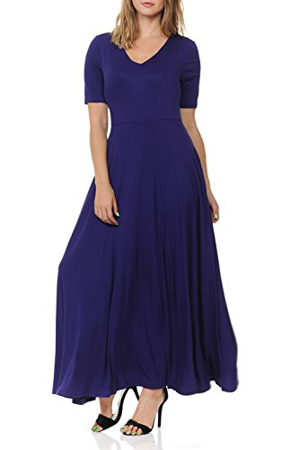 (BellaTi Double Layered Front V Neck Short Sleeve Maxi Dress Pocket-Solid Rayon Spandex)
