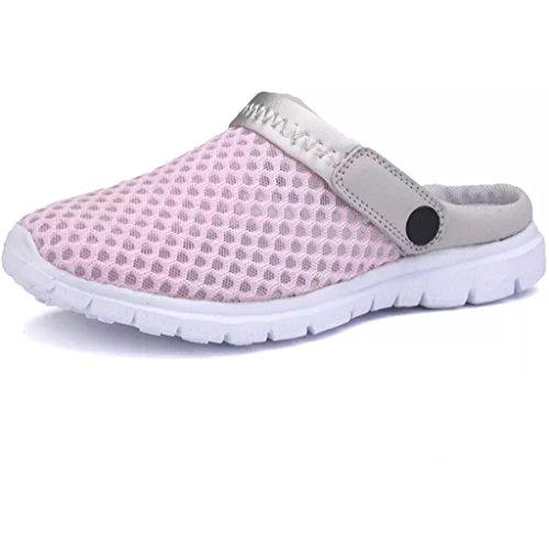 Eagsouni Sommer Damen Clogs Atmungsaktiv Mesh Herren Hausschuhe Schuhe Outdoor Rutschfest Sandalen Pantoletten Pink