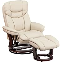 41.25' Contemporary Beige Leather Recliner & Ottoman w/ Swiveling Mahogany Wood Base (1 Set) - FF-BT-7821-BGE-GG