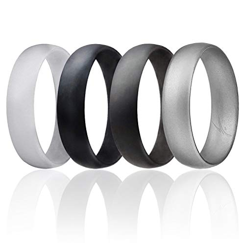 ROQ Silicone Wedding Ring for Men, Set of 4 Affordable Comfort Fit 6mm Manly Metallic Silicone Rubber Wedding Bands - Silver, Black, Grey, Light Grey - Size 10