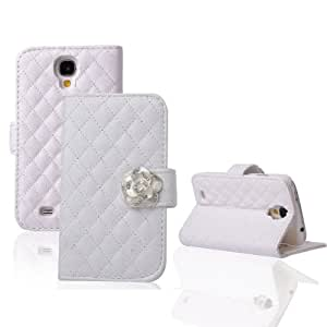 Diamond pattern camellia Leather Flip Wallet Stand Leather Case Cover Skin For Samsung Galaxy S4 IV i9500