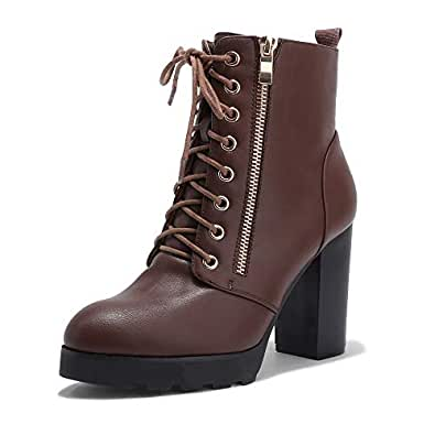 IDIFU Women's Madeline-Z Fashion Chunky High Heel Ankle Booties Side Zipper Platform Boots (Brown Pu, 5.5 M US)