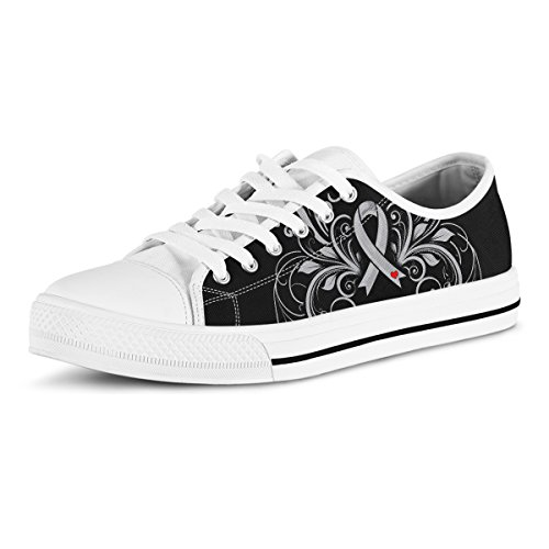 Feet Printed Ribbon - Printed Kicks Diabetes Awareness Ribbon Low Top Canvas Shoes for Womens by US8 (EU39)