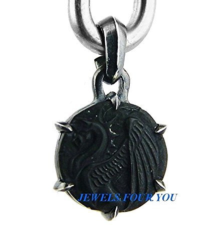 (DAVID YURMAN SOLID STERLING SILVER PETRUS GRIFFIN AMULET ONYX PENDANT NEW # 504)