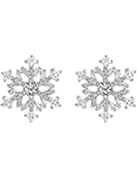 925 Sterling Silver Cubic Zirconia Winter Snowflake Flower Elegant Stud Earrings Clear