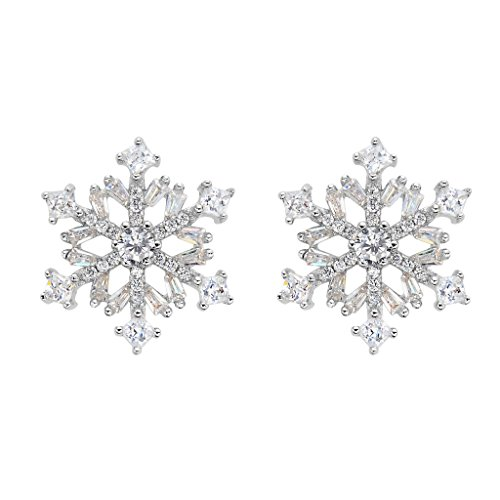 EVER FAITH 925 Sterling Silver Cubic Zirconia Winter Snowflake Flower Elegant Stud Earrings Clear