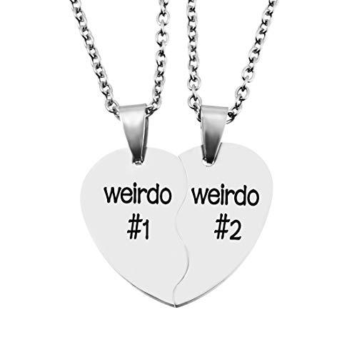 Loozykit Stainless Steel Weirdo 1 2 BFF Best Friends Heart Charm Necklaces Set 2PC (Free Box)