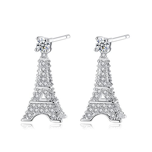 Paris Eiffel Tower Earrings Studs 18k Gold Plated Zircon for Women Girl Silver Jewelry Gift Box (Eiffel Ring Tower)