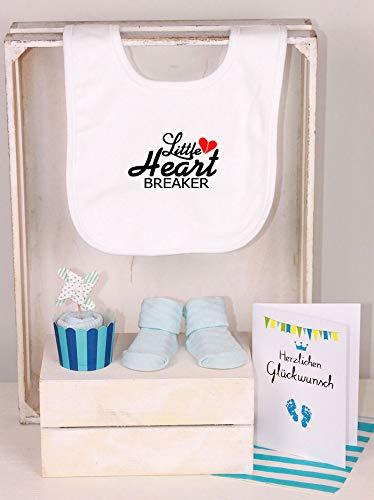 Little Heartbreaker Trend Mama Windeltorte Junge wei/ß//hellblau L/ätzchen Socken Muffin