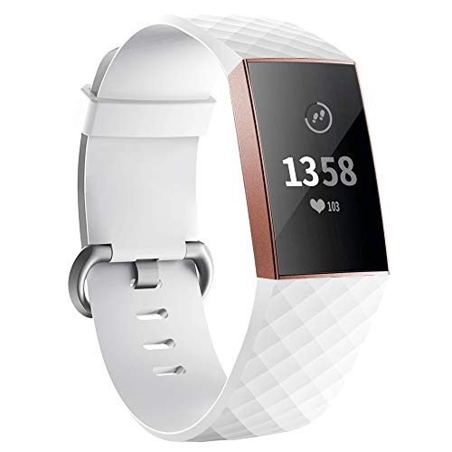 iGK Replacement Bands Compatible Fitbit Charge 3 Charge 3 SE Fitness Activity Tracker, Adjustable Replacement Sport Strap Women Men White Small