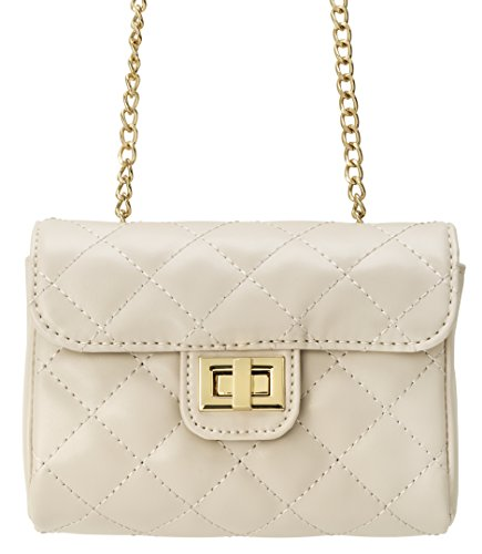 quilted crossbody purse beige - 4