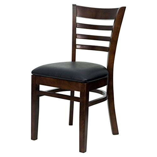 Modern Style Wood Dining Chairs School Bar Restaurant Commercial Seats Ladder Back Design Solid Beech Hardwood Frame Home Office Furniture - (1) Black Vinyl Seat/Walnut Wood Frame ()