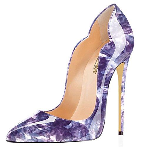 Modemoven Women's Purple Flower Sexy Point Toe High Heels...