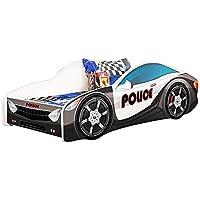 Kids Twin Size Platform Bed Frame, Cop Police Car Bed Design, Black
