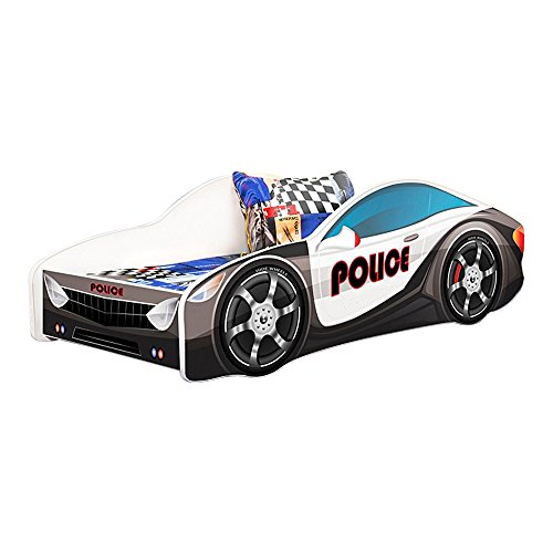 Kids Twin Size Platform Bed Frame, Cop Police Car Bed Design, Black by MEBLE FURNITURE & RUGS