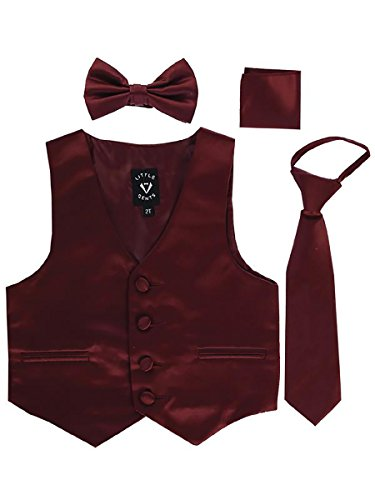 Burgundy Infant Boys 4 Piece Formal Satin Vest Set Zipper Tie Bowtie Hanky 12-18 -