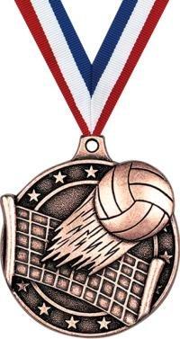 クラウン賞メダル – ブロンズバレーボールVolleyballスポーツMedals withネックリボンPrime B07FNW7ZKJ 100