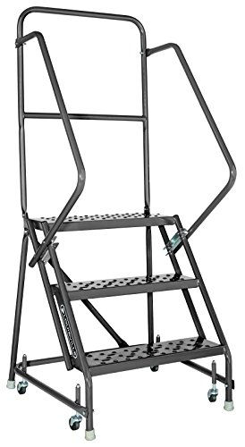 Louisville Ladder GSW2403-W03 Rolling Warehouse Ladder with 24-Inch Step Width and Handrails, 30-Inch Platform Height, 3-Step