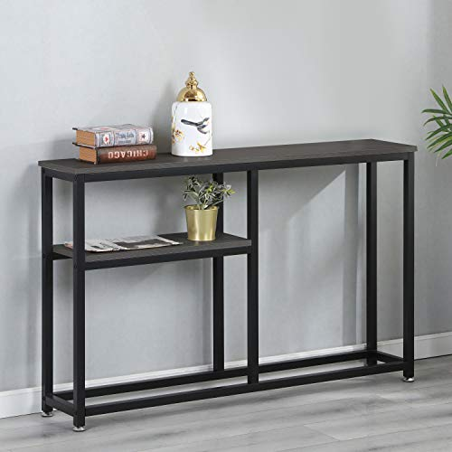 Soges Console Table 47.2 inches Hallway Entry Way Table with Shelves Living Room Sofa Table Sturdy Metal Frame, Dark Brown DX-122HY