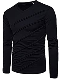 Men's Casual Long Sleeve Striped T-Shirt, Winter Fashion Cotton Solid V Neck Tee