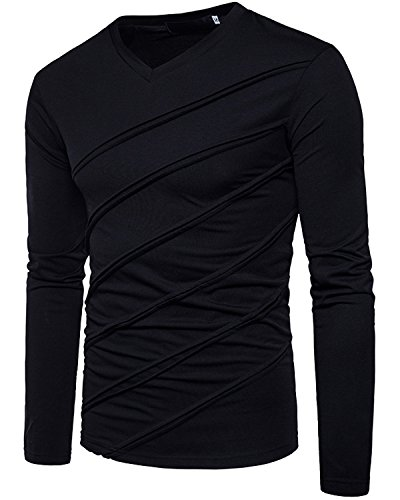 Mens Designer T-shirts - Men's Casual Long Sleeve Striped T-Shirt, Winter Fashion Cotton Solid V Neck Tee Black Medium