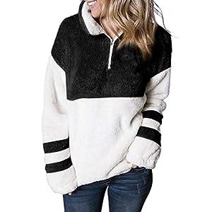 Dokotoo Women Fashion Ladies Casual Lapel Fleece Fuzzy Long Sleeve 1/4 Zip Pullover Color Block Cozy Sweatshirts Tops…