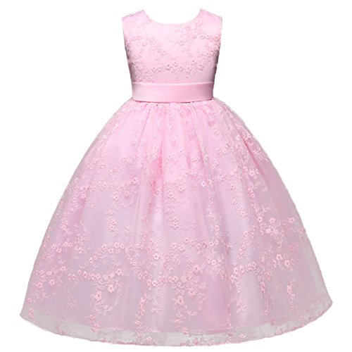 Dance Recital Costumes 2016 (IWEMEK Little/Big Girls Flower Lace Tulle Dress Floor Length Pageant Party Wedding Bridesmaid Dance Evening Gown)