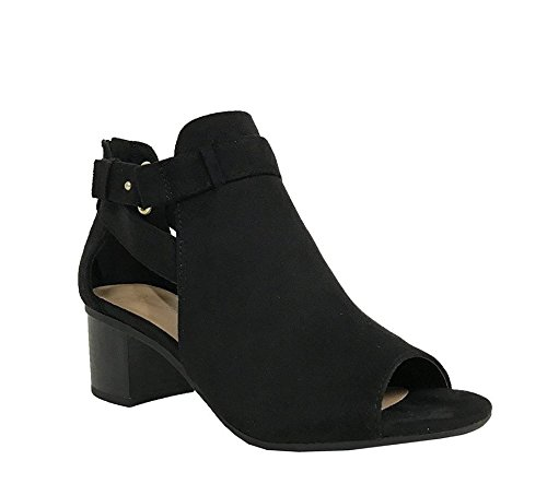 City Classified Women's Cutout Side Strap Mid Black Chunky Heel Fashion Ankle Bootie Boots Black 9
