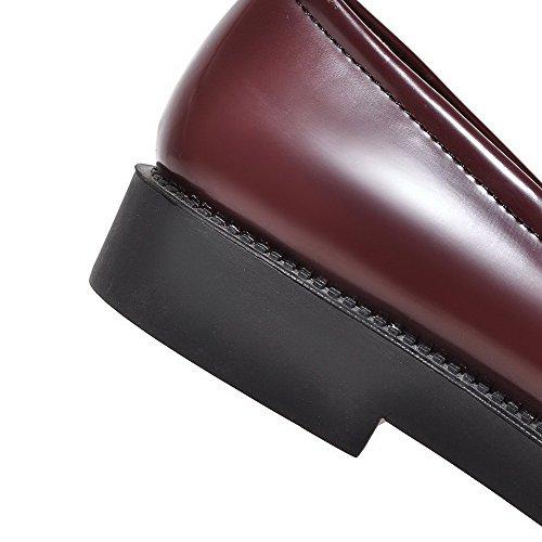 Allhqfashion Womens Lage Hakken Stevige Pull-on Lakleer Puntige Gesloten Teen Pumps-schoenen Claret