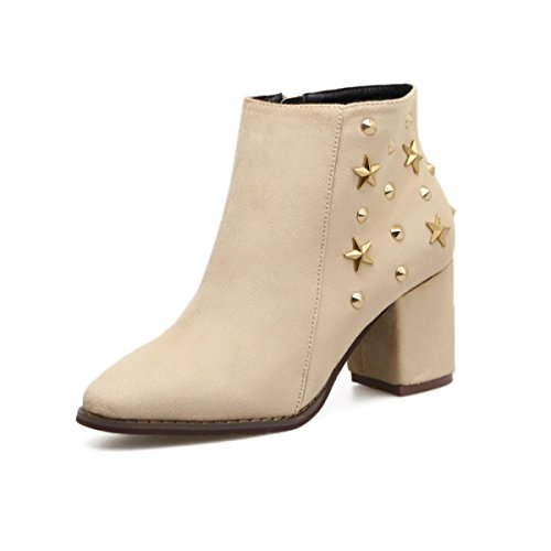 Autumn And Winter Europe And The United States The New Rivets Boots High Heel Short Boots Martin Boots Round And Bare Boots Female Beige
