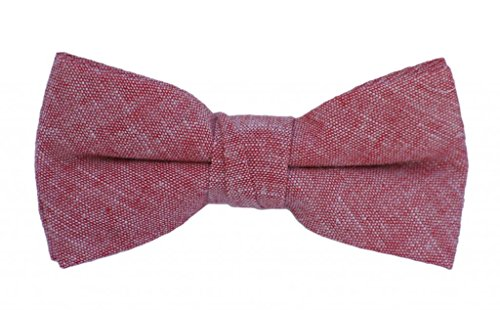 Born to Love - Boys Kids Pre Tied Adjustable Bowtie Easter Holiday Party Dress Up 4 Inches Red Chambray Linen Bow Tie