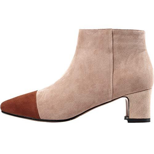 Heel Jushee Ankle Beige mid Womens cm Zipper Boots Wool Juatten 5 FPqF4