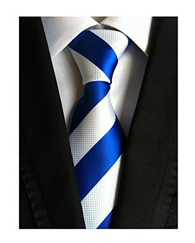 (Secdtie Men's Blue White Striped Jacquard Woven Silk Tie Formal Necktie)