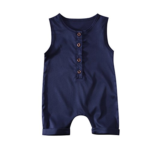 BiggerStore Infant Toddler Baby Girl Boy Sleeveless Romper Jumpsuit Shorts Summer Outfit Clothes (Navy Blue, 12-18 Months)