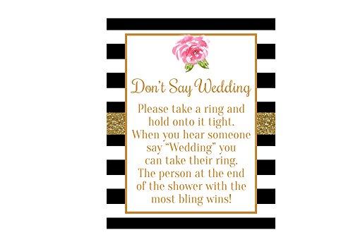 Don't Say Wedding Bridal Shower Game, Bridal Shower Sign, Black and White Bridal Shower, Black and White Bridal Shower Decorations, Bridal Shower Games, Bridal Shower Sign, 8x10 Glossy ()