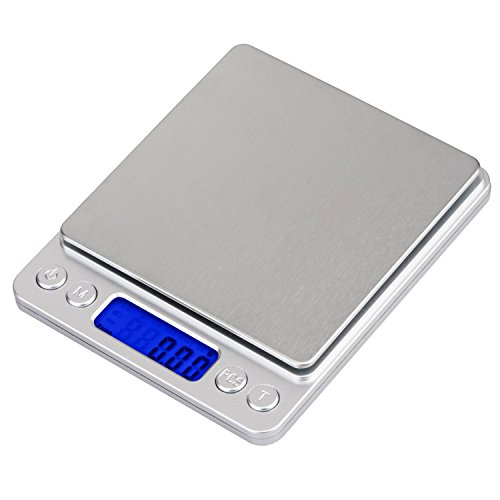 HEYFIT 500g/0.01g Digital Pocket Scale Jewelry Gram Kitchen Multifunction Food Scale Stainless Steel 0.001oz with Large Back-lit LCD Display with Precision Measuring