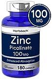 Horbaach Zinc Picolinate 100mg   180 Capsules   High Potency   Non-GMO, Gluten Free   Zinc Supplement