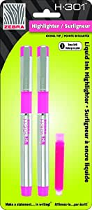 Zebra H-301 Stainless Steel Highlighter with Refill, Pink, 2-Pack (76072)