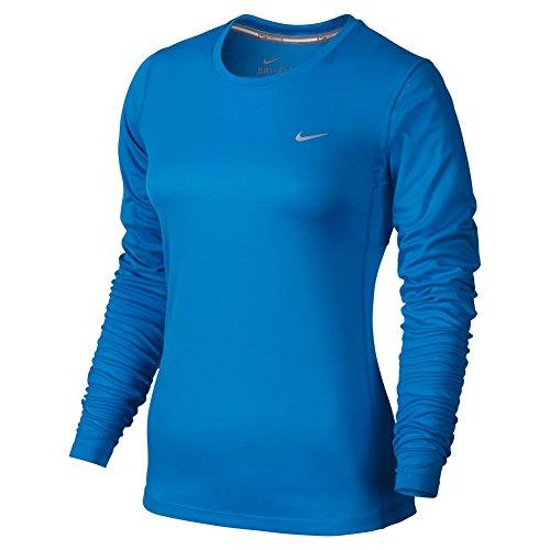 Nike Miler Long Sleeve - Camiseta de manga larga para mujer Azul (Lt Photo Blue)
