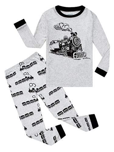 (KikizYe Train Big Boys Long Sleeve Gray Pajamas 100% Cotton Clothes Size 10)