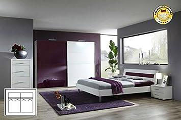 Komplett Schlafzimmer 1937 weiß/ brombeere Schwebetürenschrank 180cm ...