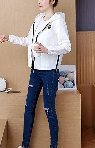 Digitale Moda Elegante Vintage Outerwear Giaccone Mantello Casuale Manica Cute Chiusura Confortevole Primaverile Cerniera Giacca Di Bianca Con Incappucciato Autunno Chic Cappuccio Stampate A Lunga Donna YzCaZz