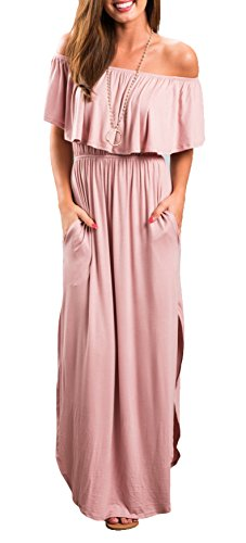 - Womens Off The Shoulder Ruffle Party Dress Side Split Beach Long Maxi Dresses Pink L