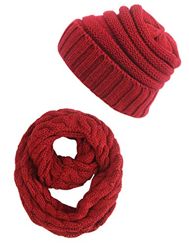 MissShorthair Winter Slouch Beanie Hat and Infinity Scarf Warm Skull Cap for Men Women